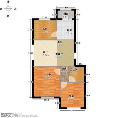 美林香颂3室1厅1卫0厨86.00㎡户型图