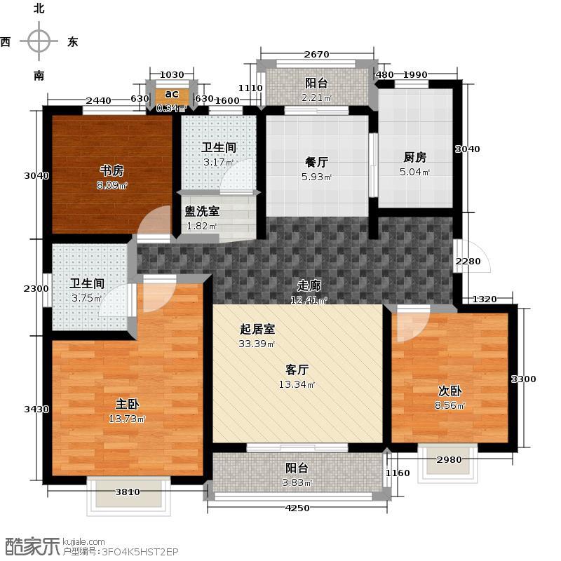 大地十二城123.00㎡三室两厅两卫123平米12-14号楼2-5层户型