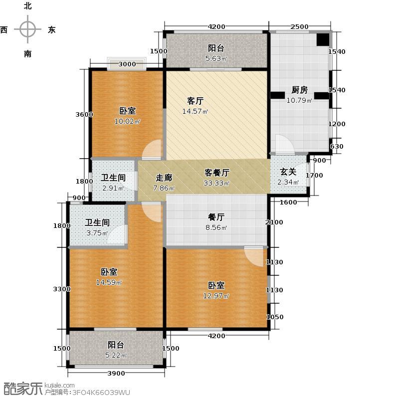 高新第五季126.00㎡三室两厅两卫126平米F户型