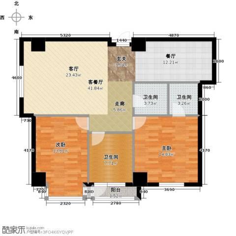 金州福佳新天地广场2室1厅3卫0厨124.00㎡户型图