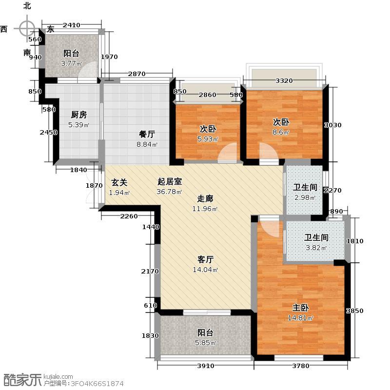 御城57#-101.06平米-三房两厅两卫户型