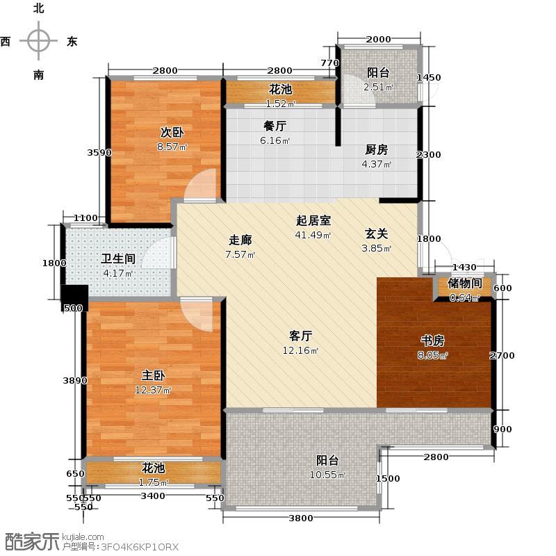 中铁子悦薹89.23㎡B户型 两室两厅+书房户型2室2厅1卫