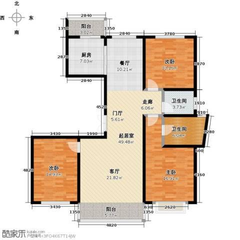 城市维也纳3室0厅2卫1厨129.00㎡户型图