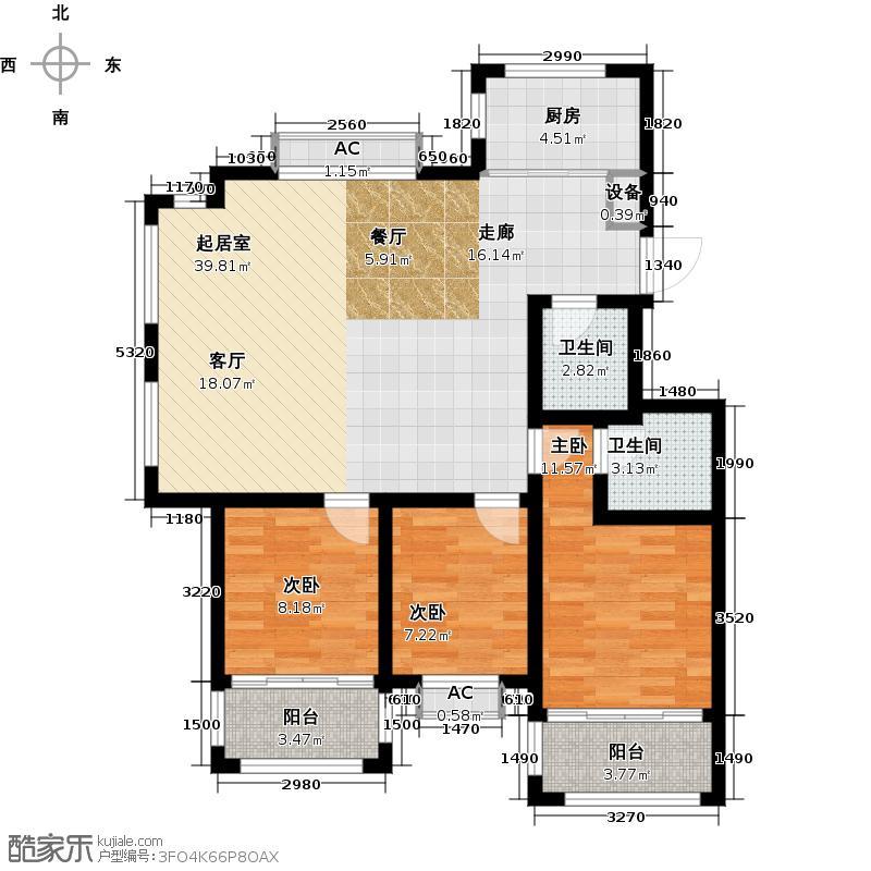 米罗湾110.00㎡A户型 三室两厅两卫户型