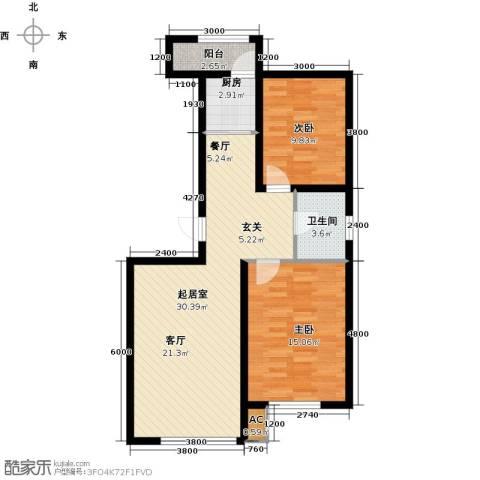 诺睿德国际商务广场2室0厅1卫1厨98.00㎡户型图