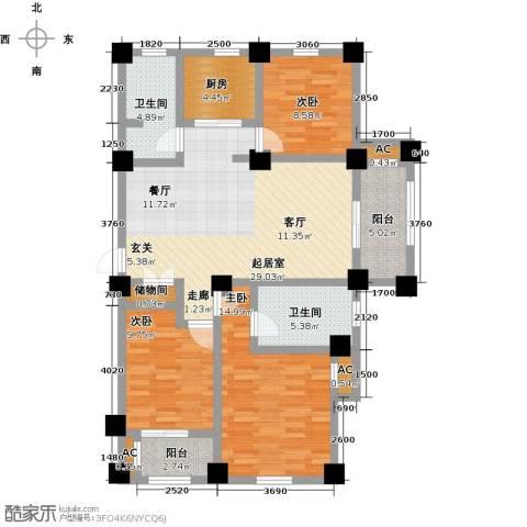 伟业迎春世家3室0厅2卫1厨107.00㎡户型图