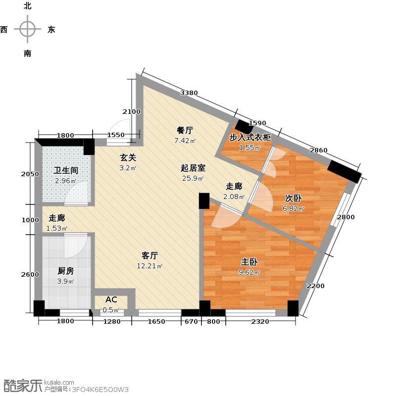 耕海广场77.94㎡二室二厅一卫户型2室2厅1卫QQ