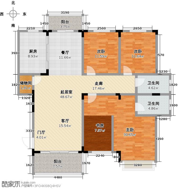 盘龙水岸沁园161.45㎡B1-1户型4室2厅2卫
