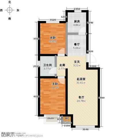 卓然京都2室0厅1卫1厨81.00㎡户型图