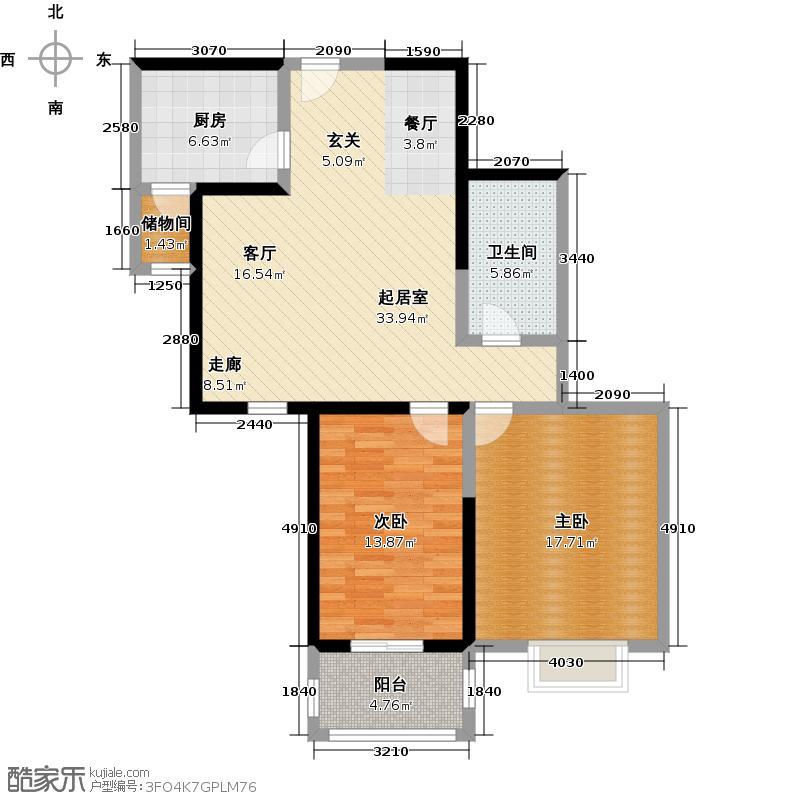 爱情公寓爱情公寓尚品96.82平米两室两厅一卫户型-T