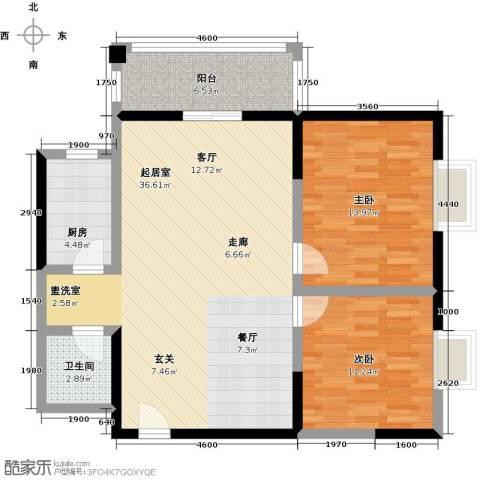 爱情公寓2室0厅1卫1厨108.00㎡户型图