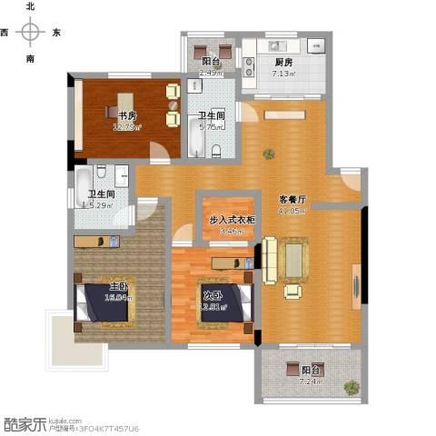 晨光绿苑3室1厅2卫1厨164.00㎡户型图
