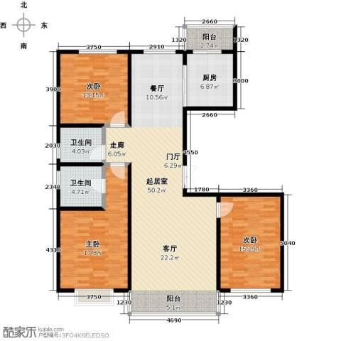 城市维也纳3室0厅2卫1厨128.00㎡户型图