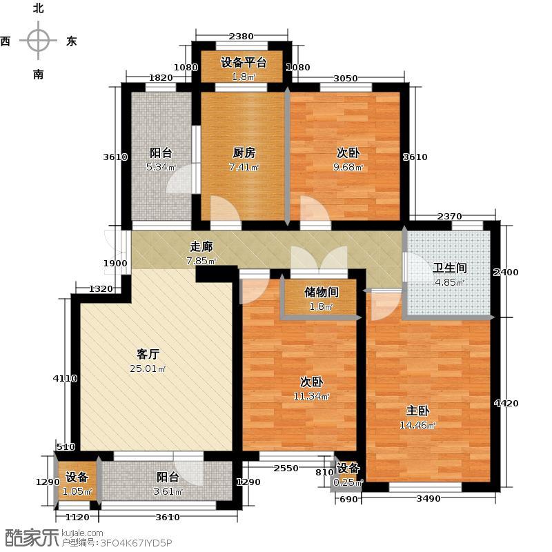 花溪镇107.00㎡DC1户型 三室二厅一卫户型3室2厅1卫