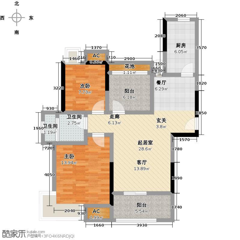 南山金城195886.00㎡二期高层F户型2室2厅1卫-T
