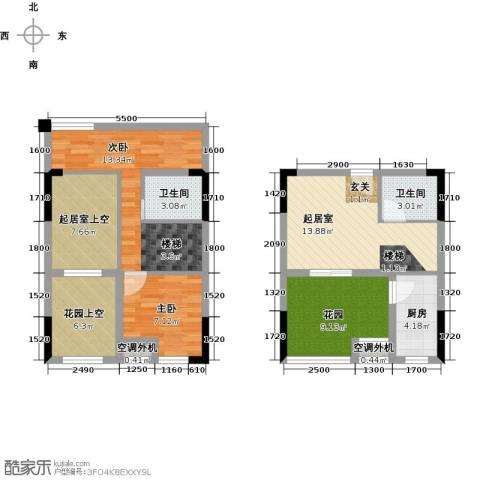同景跃城2室0厅2卫1厨68.56㎡户型图