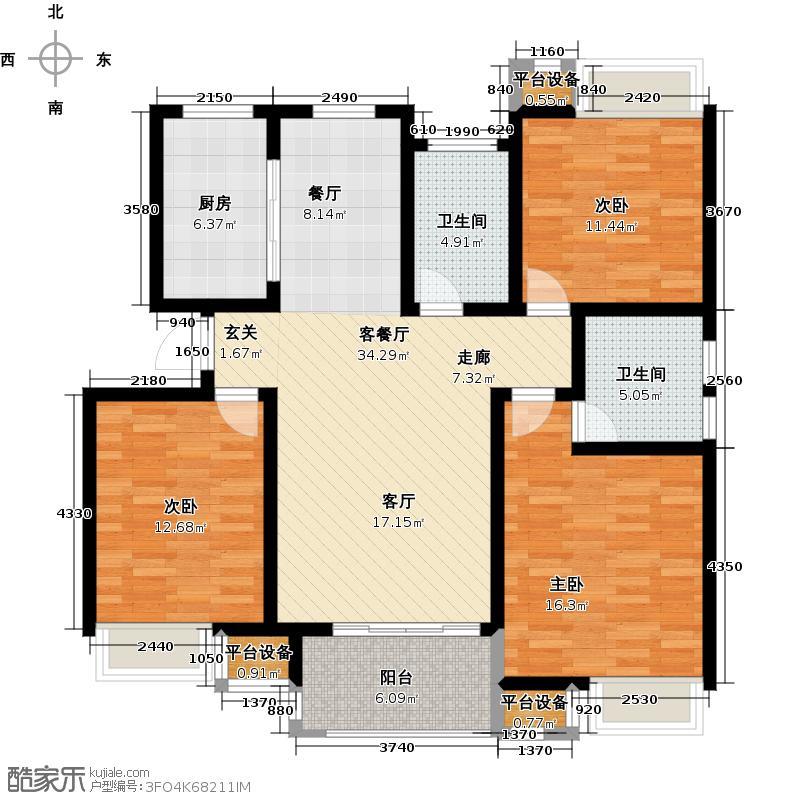 绿地国际花都A3户型3室2厅2卫115.00㎡户型3室2厅2卫