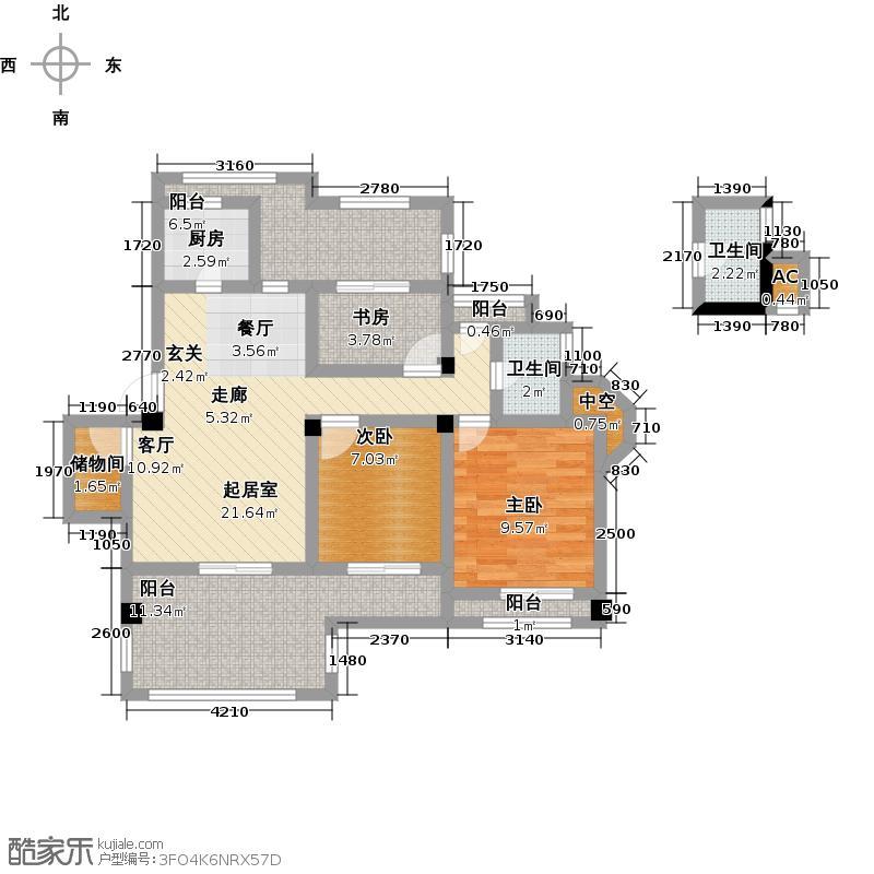 南山金城195886.00㎡花园洋房F1户型2室2厅1卫-T