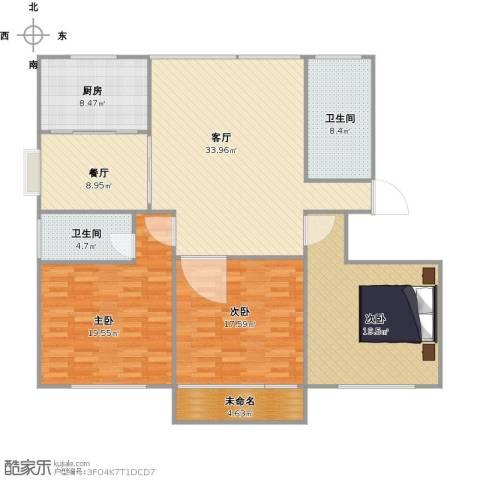 红苹果3室2厅2卫1厨168.00㎡户型图