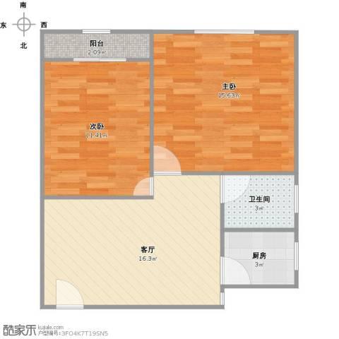 真光四街坊2室1厅1卫1厨69.00㎡户型图