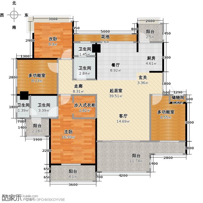 中铁子悦薹133.41㎡B户型 三室两厅+多功能房户型4室2厅2卫