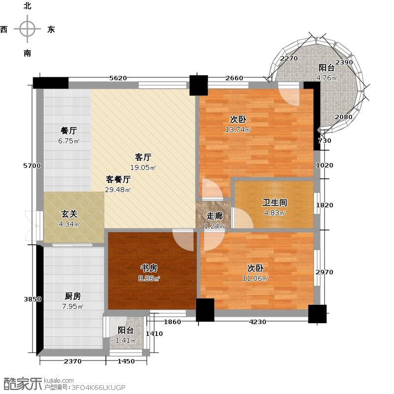 中南国际城二期106.64㎡D-A-12户型 3室2厅1卫户型3室2厅1卫