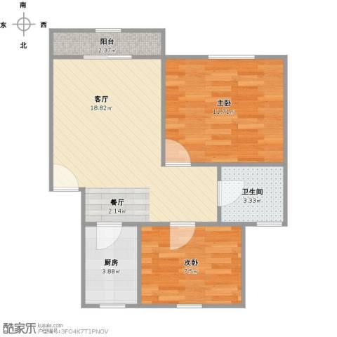 西郊九韵城2室1厅1卫1厨65.00㎡户型图