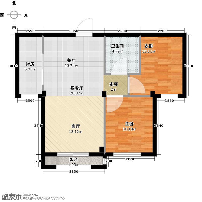 鸿玮澜山68.00㎡两室两厅一卫68-72平米户型图户型