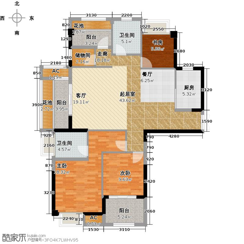 诚盛御庭130.00㎡130平米 四居室户型