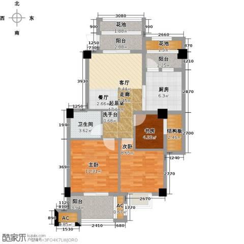 诚盛御庭3室0厅1卫1厨82.00㎡户型图