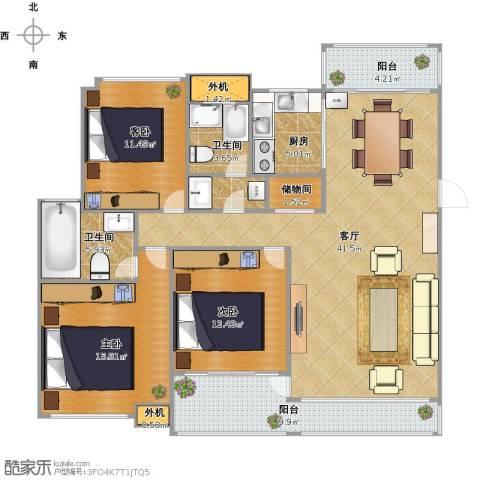 东湖大郡3室1厅2卫1厨156.00㎡户型图