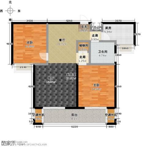 华仁凤凰城2室0厅1卫1厨99.00㎡户型图