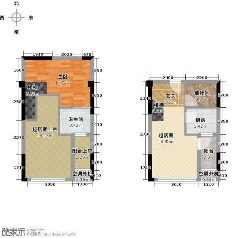 同景跃城1室0厅1卫1厨57.59㎡户型图