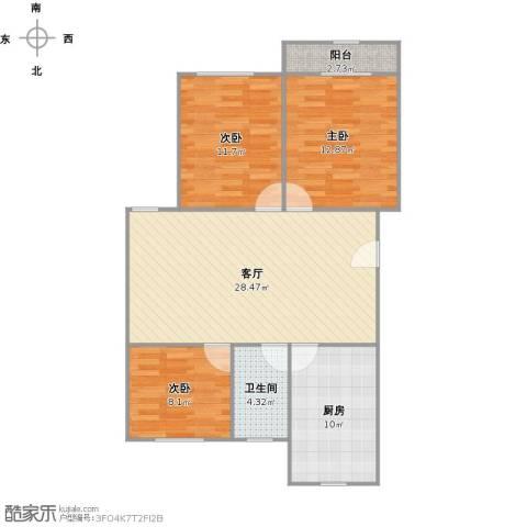 香山东北街坊3室1厅1卫1厨104.00㎡户型图
