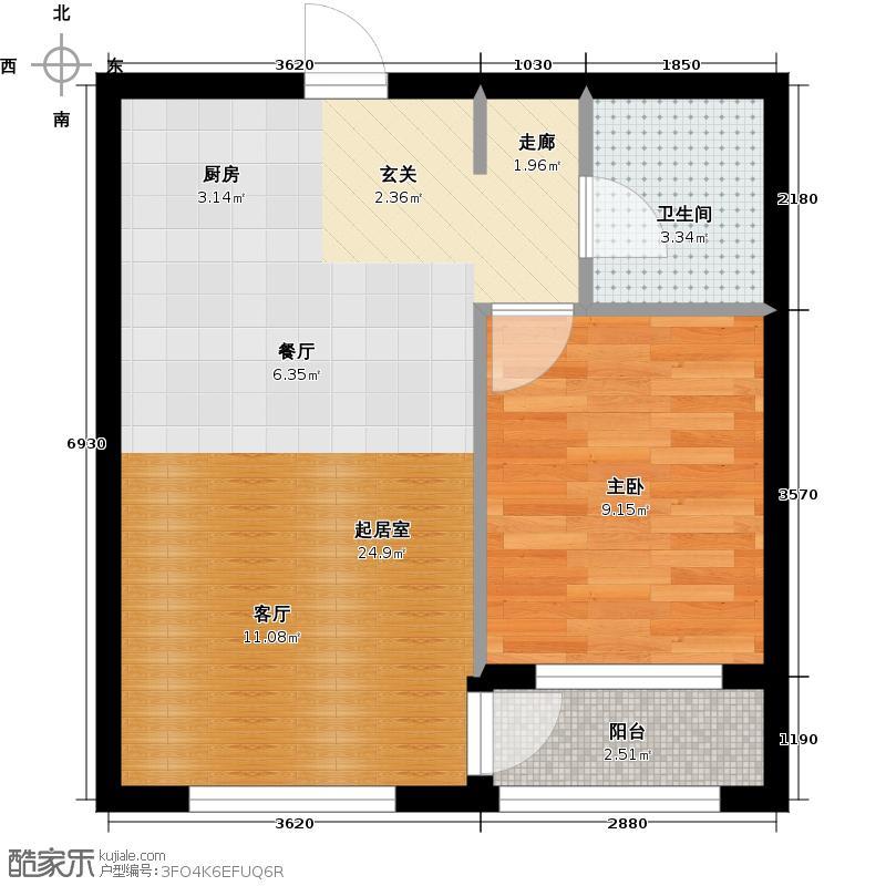 运达诺维溪谷50.30㎡E2户型 小高层一室一厅一卫户型1室1厅1卫
