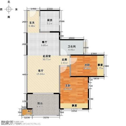 中铁子悦薹2室0厅1卫1厨77.00㎡户型图