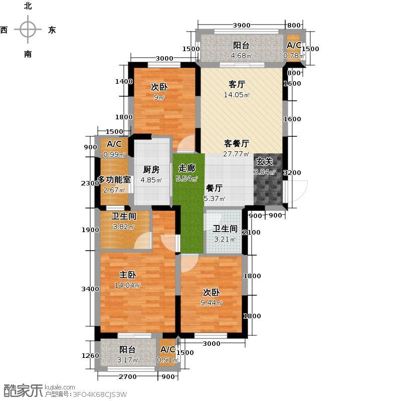 绿地国际金融城三房两厅两卫户型3室2厅2卫X