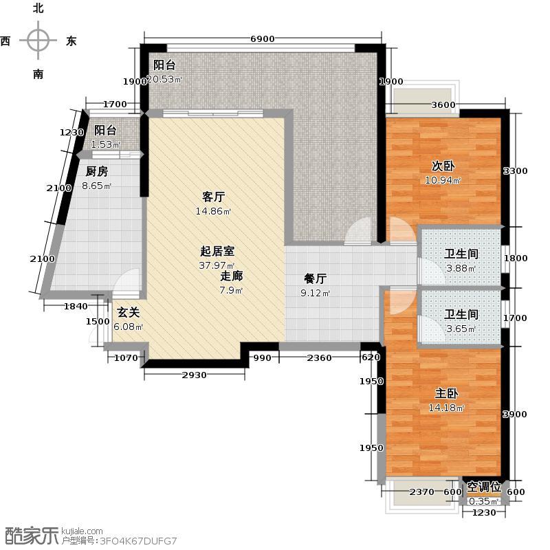 中大国际广场127.38㎡中大国际广场127.38㎡2室2厅2卫户型2室2厅2卫