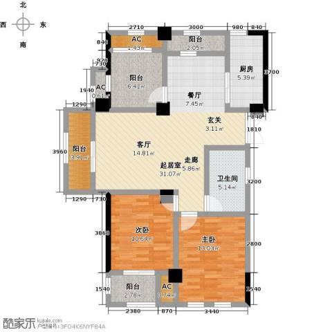 伟业迎春世家2室0厅1卫1厨107.00㎡户型图
