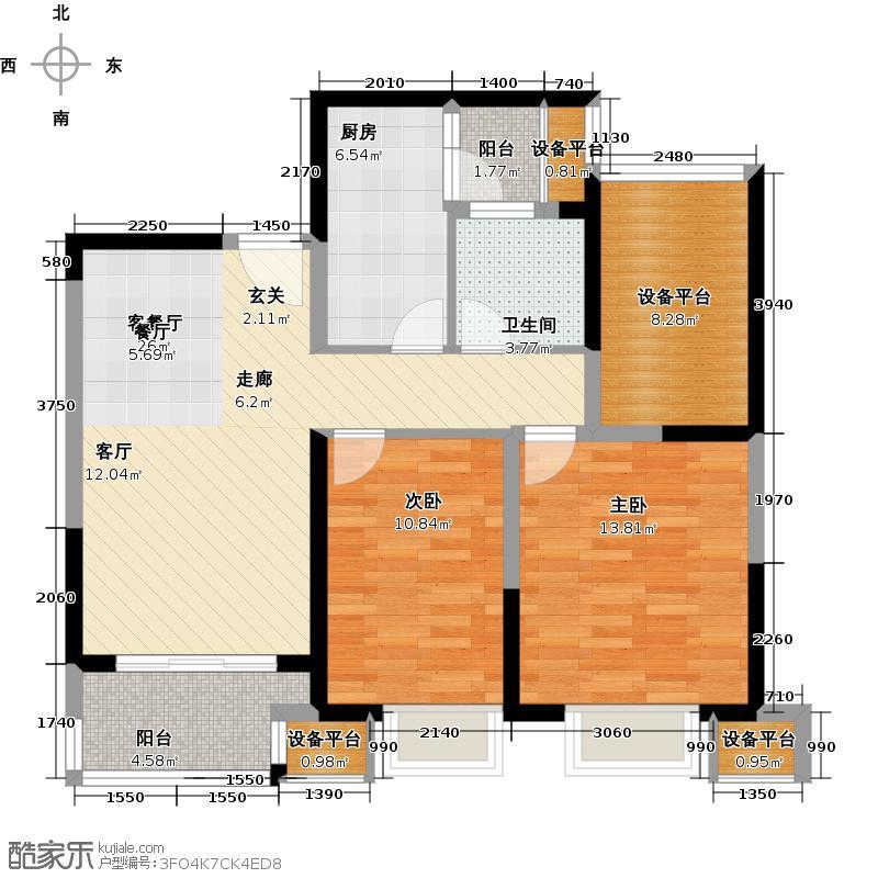 可逸兰亭91.00㎡91平米2房2厅1卫户型2室2厅1卫
