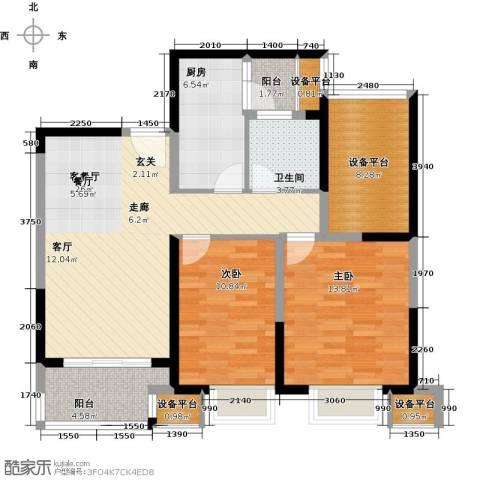可逸兰亭2室1厅1卫1厨91.00㎡户型图