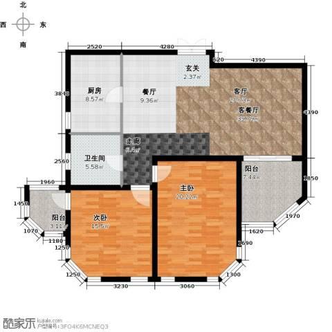 怡湖华庭澜郡2室1厅1卫1厨112.00㎡户型图