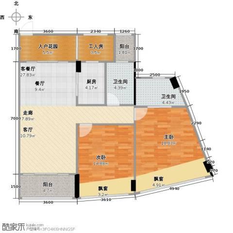 鸿洲・天玺2室1厅2卫1厨90.04㎡户型图