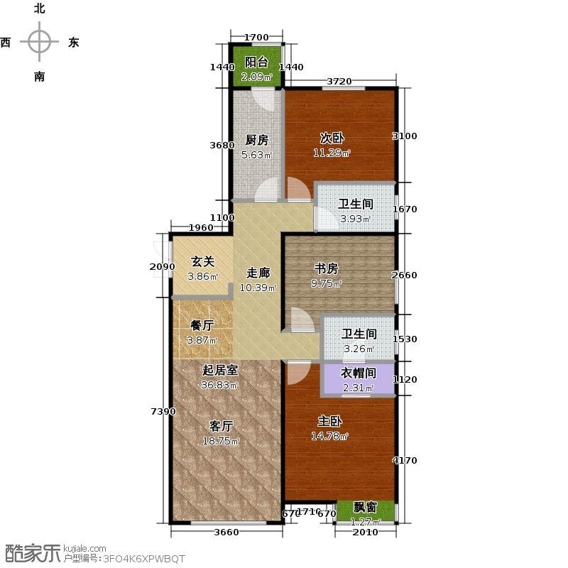 富力津门湖二期133.94㎡5号楼二单元03 三室二厅二卫 133.94平米户型3室2厅2卫