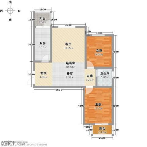 外滩九号2室0厅1卫1厨95.00㎡户型图
