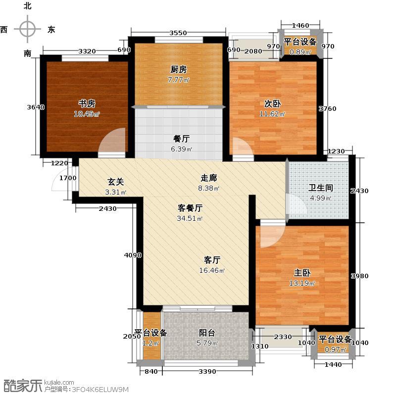 绿地国际花都105.00㎡2#C3-1户型 三室两厅一卫户型3室2厅1卫