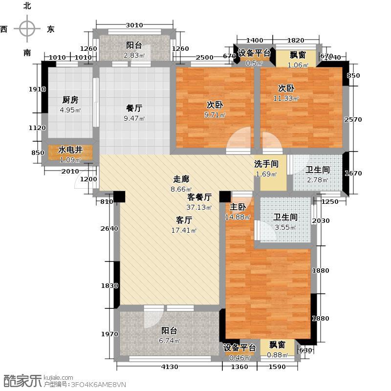 百胜青城一品120.00㎡J户型三室两厅两卫户型3室2厅2卫