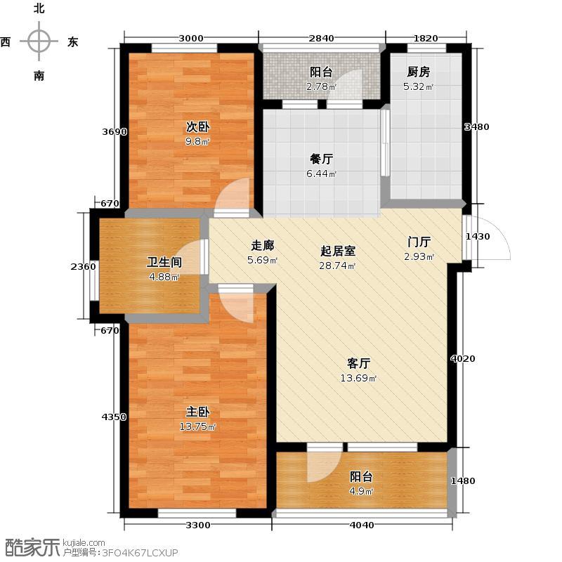 鹿山E鹿山6#9#88,09平米两室两厅一卫户型