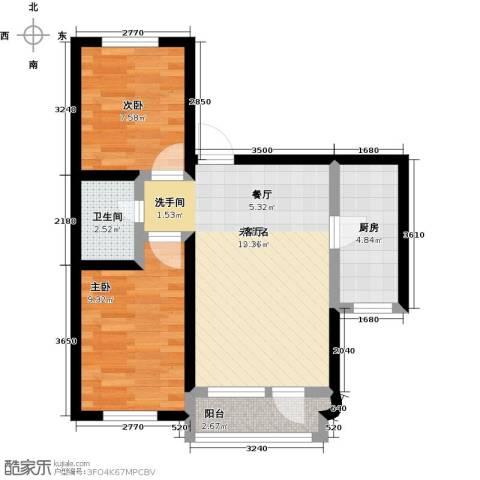 半岛印象2室0厅1卫1厨68.00㎡户型图