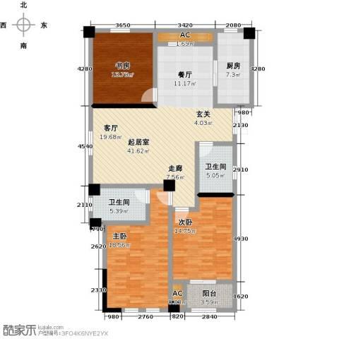 伟业迎春世家3室0厅2卫1厨133.00㎡户型图